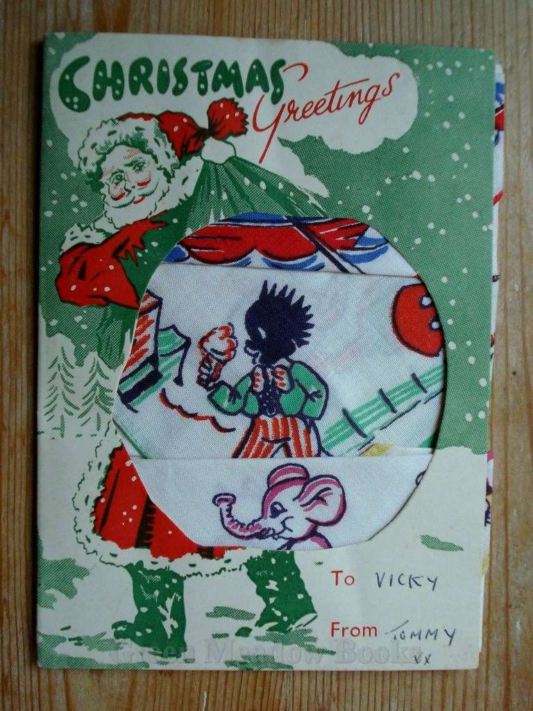 Image for CHRISTMAS GREETING CARD OF CHILDREN'S HANDKERCHIEFS  WITH GOLLY AND ELEPHANTS