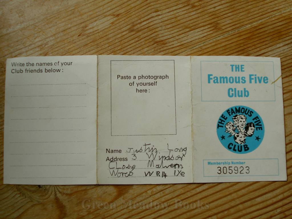 Image for FAMOUS FIVE ORIGINAL CLUB MEMBERSHIP CARD