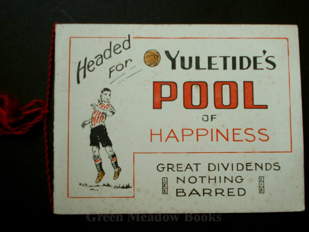 "Image for CHRISTMAS CARD  -  FOOTBALL INTEREST  ""HEADED FOR YULETIDE'S POOL OF HAPPINESS   GREAT DIVIDENDS  NOTHING BARRED"