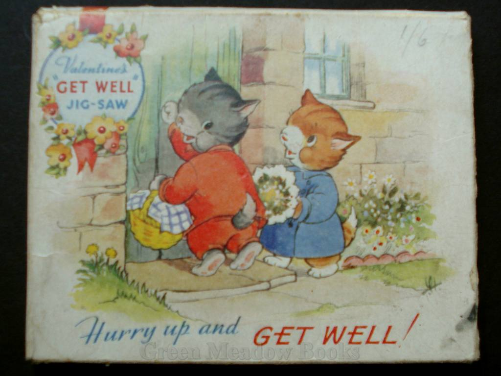Image for HURRY UP AND GET WELL!  JIG-SAW GREETING CARD -  PUSSY CATS!