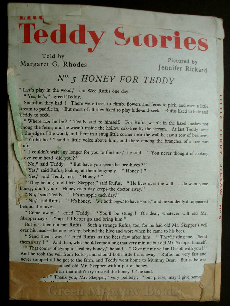 Image for TEDDY STORIES  No.5   HONEY FOR TEDDY