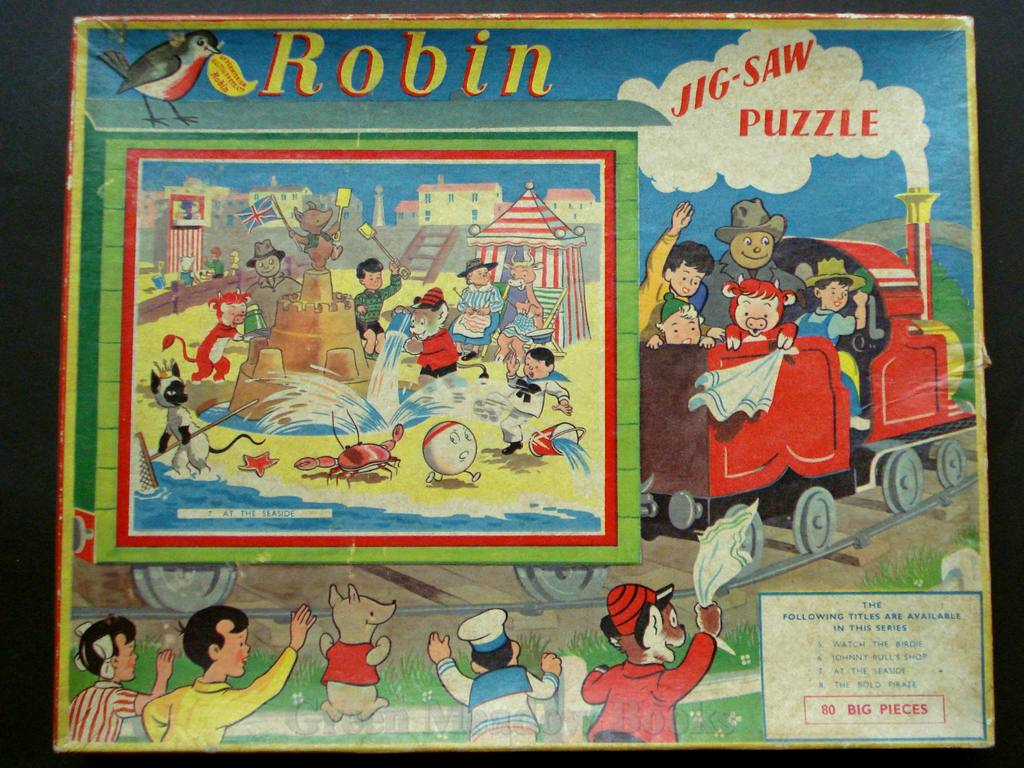 Image for ROBIN JIG-SAW PUZZLE  AT THE SEASIDE    No. 7 in series. Featuring Tai-Lu, the magical Siamese Cat,Tiptop, Mrs Bumble,  Richard Lion,Simon & Sally, Johnny Bull,Woppit etc.