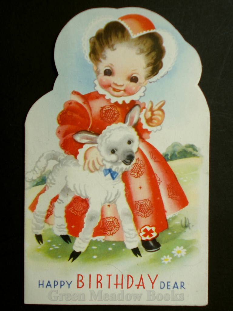 Image for SHAPED NURSERY RHYME BIRTHDAY CARD featuring  MARY HAD A LITTLE LAMB