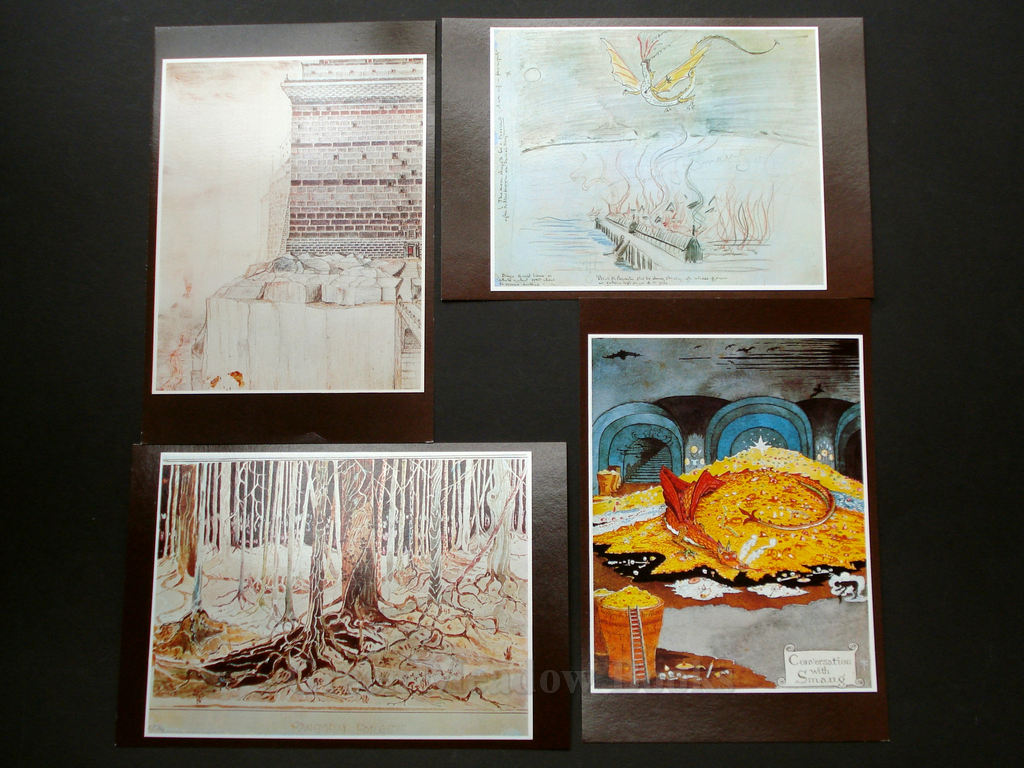 Image for SET OF EIGHT LARGE POSTCARDS plus ORIGINAL ENVELOPES WITH TOLKIEN'S OWN ILLUSTRATIONS TO THE LORD OF THE RINGS AND THE HOBBIT