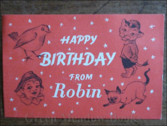 Image for OFFICIAL BIRTHDAY CARD: HAPPY BIRTHDAY FROM ROBIN  Depicting Robin, Andy Pandy, Richard Lion, and Tai-Lu, the magical Siamese Cat.
