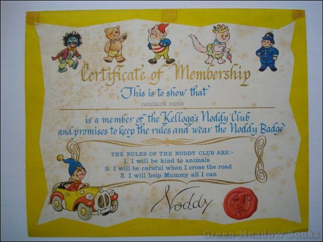 Image for NODDY - KELLOGG'S NODDY CLUB CERTIFICATE OF MEMBERSHIP