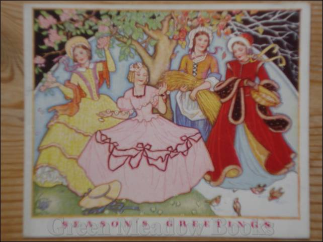 Image for SEASONS GREETINGS! Deco flavoured card four charming ladies, and robins under trees.
